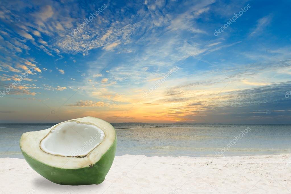 Half green coconut