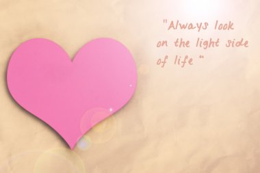 Pink heart and motivating quote