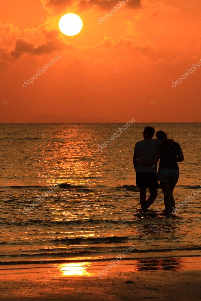 Lover on beach sunset
