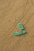 Fotografie barevné žabky na písku