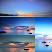 Satz von Felsen am Strand mit Sonnenuntergang