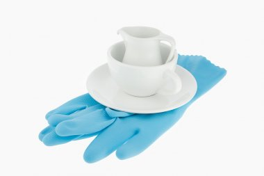 Kitchen utensil of coffee cup with blue gloves for washing dish