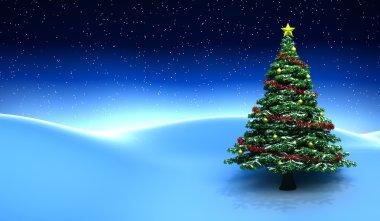 Winter scene with Christmas tree