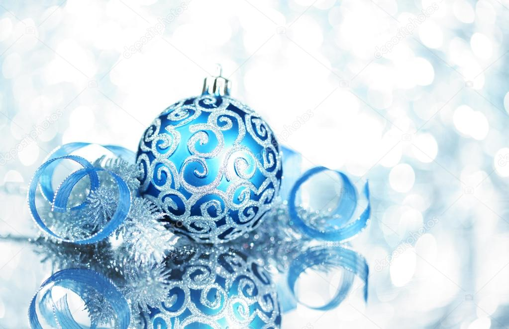 Blue Christmas decorations with bright lights