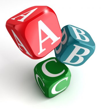 A,B and C on red, blue and green box