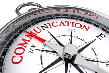 communication red word on conceptual compass