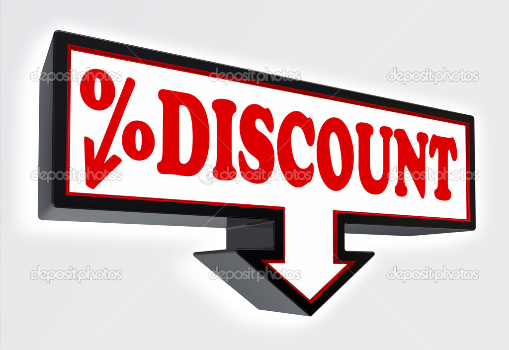 Discount Sign With Arrow Down And Per Cent Symbol Stock Photo