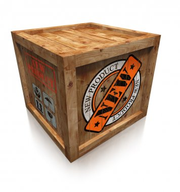 new product stamp sign on wooden box