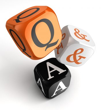 questions and answers orange black dice blocks