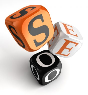 seo orange black dice blocks