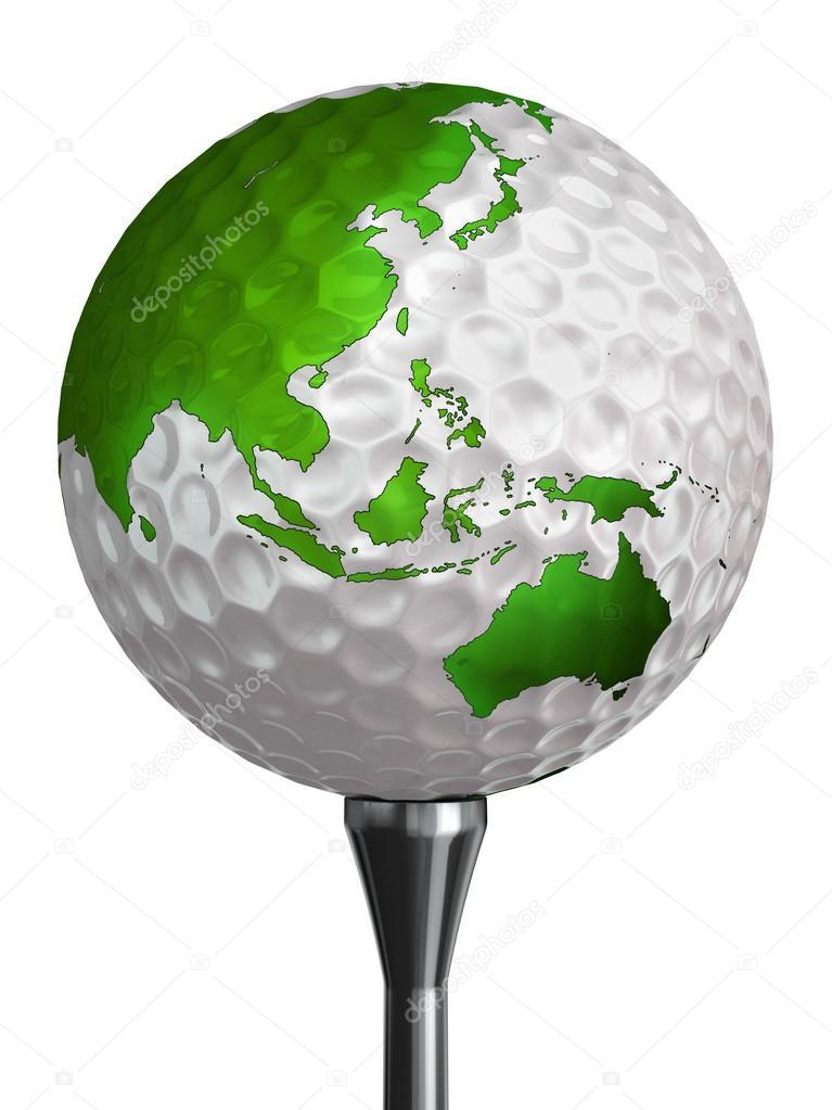 australie et asie vert continent sur la balle de golf. Black Bedroom Furniture Sets. Home Design Ideas