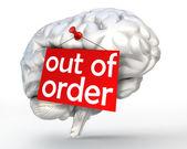 Psychische Problem aus Reihenfolge rot Zeichen des menschlichen Gehirns