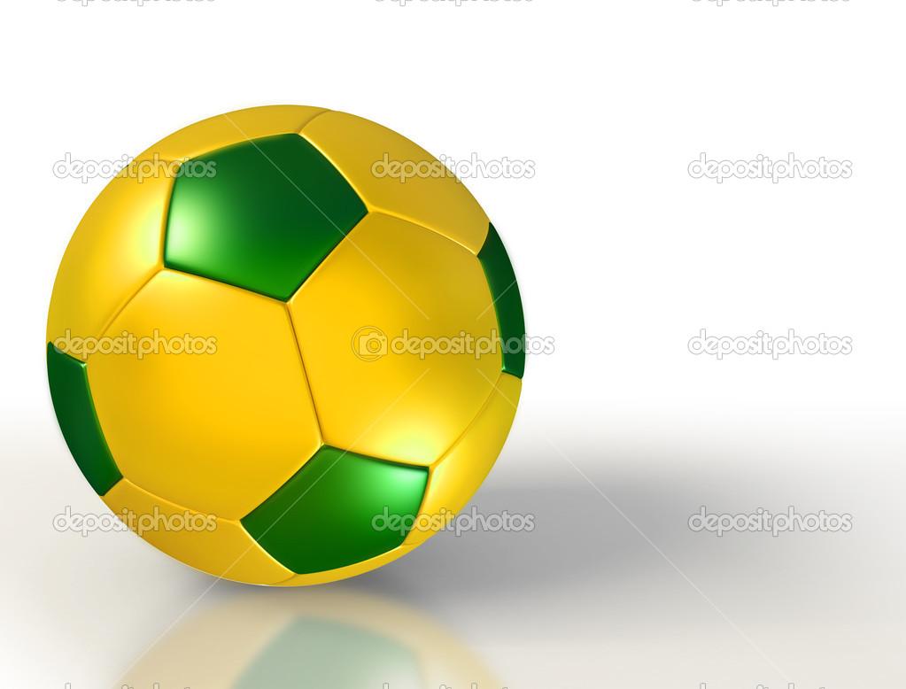Brasilien-Farben auf Fußball auf weißem Hintergrund — Stockfoto ...