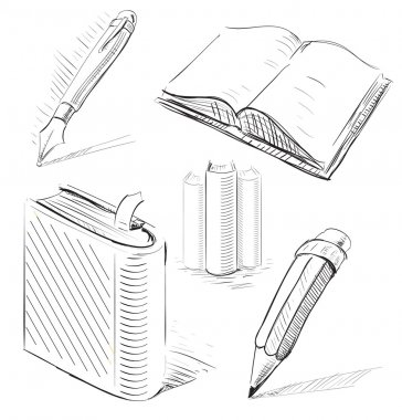 Books with pen and pencil. Office stuff set.