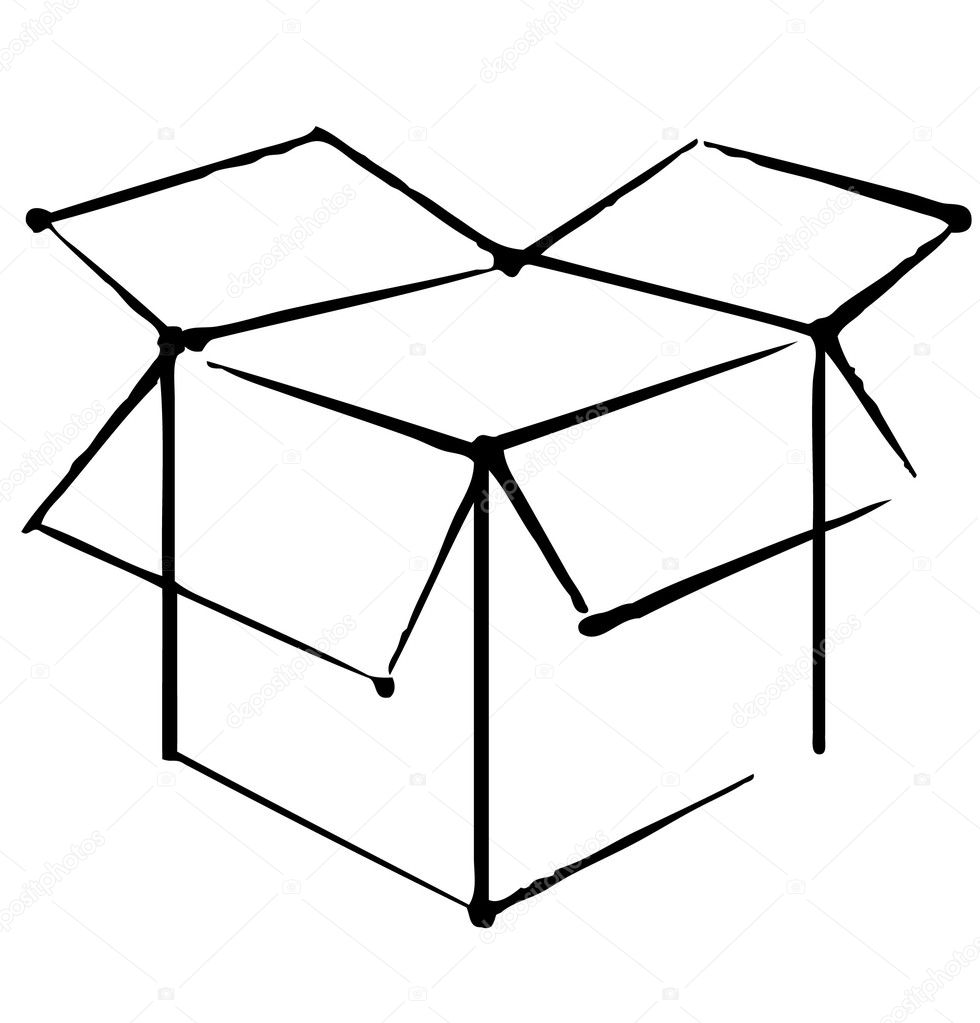 Single Line Box Art : Open box icon isolated on white background — stock vector