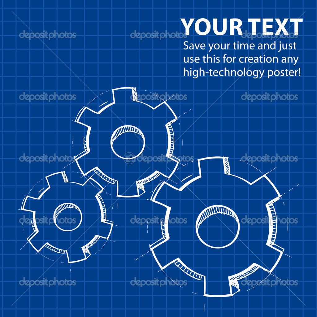 Techno blau Hintergrund mit Hand zeichnen, Zahnräder und ...