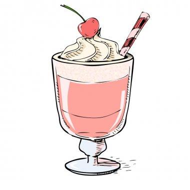 Creamy milk shake with cherry and foam.