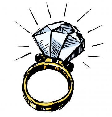 Ring with a big sparling diamond. Sketch vector illustration