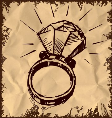 Ring with a big sparling diamond isolated on vintage background. Sketch vector illustration