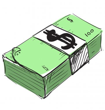 Dollar cash money icon. Hand drawing cartoon sketch illustration in childish doodle style