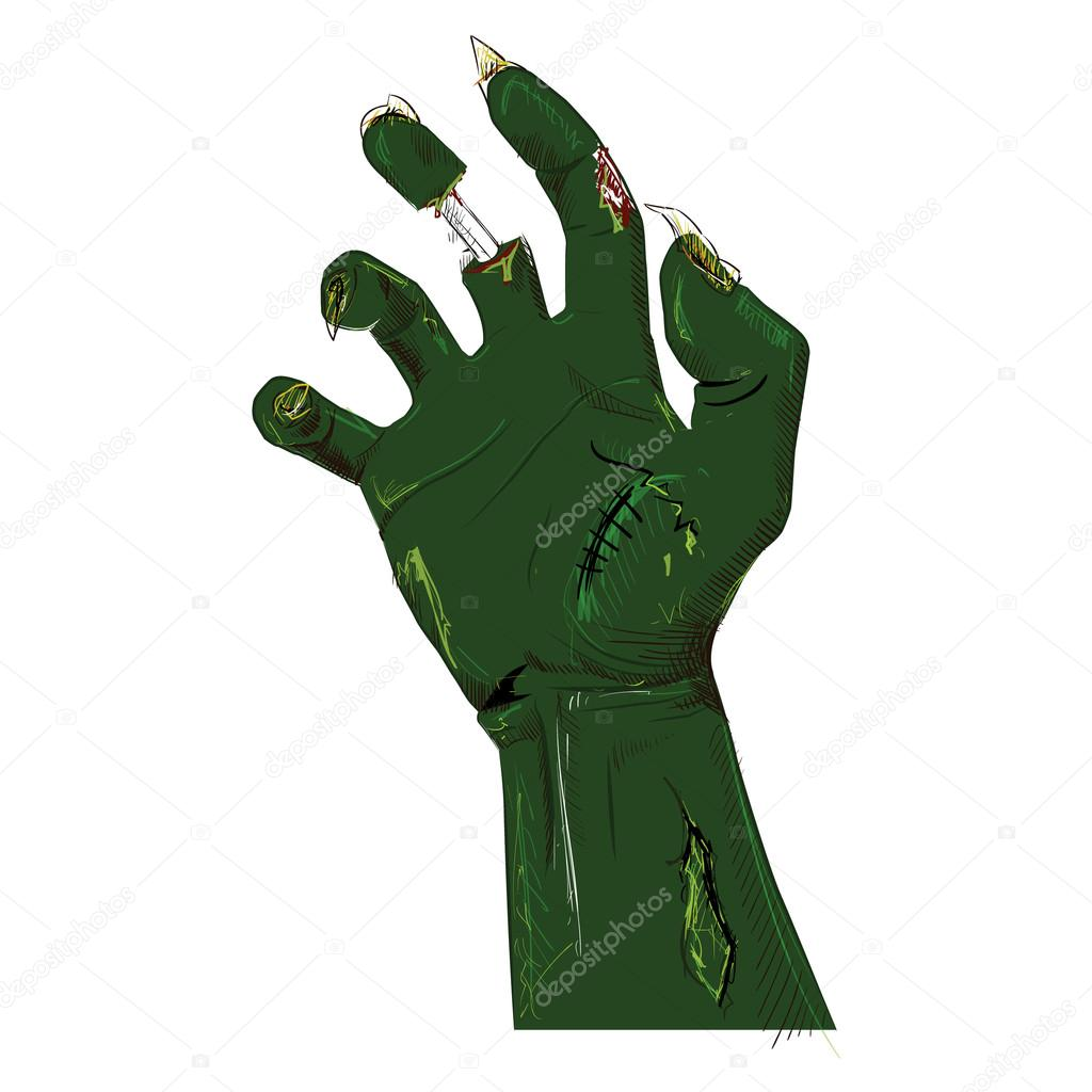 Zombie Hand Isolated On White Hand Drawing Sketch Vector