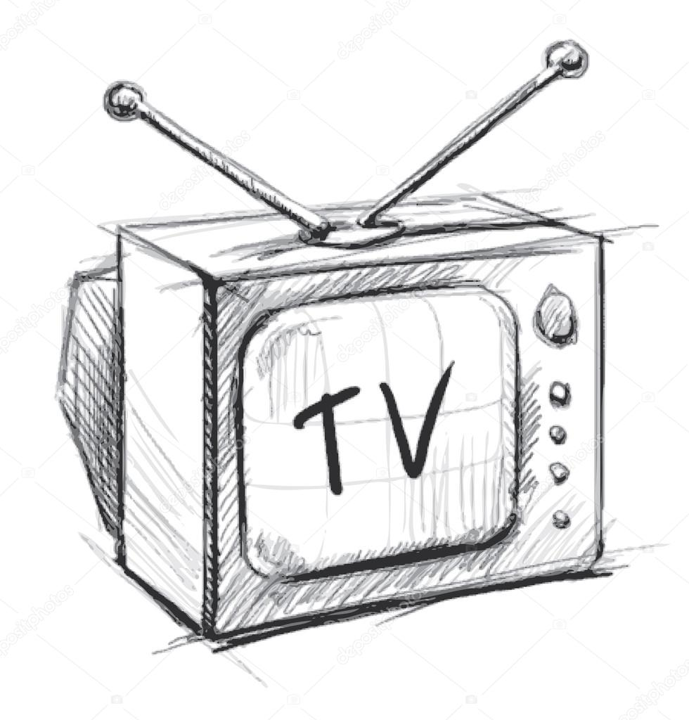 Retro tv with antenna hand drawing sketch vector - Dessin television ...