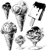 Ice cream collection. Hand drawing sketch vector illustration