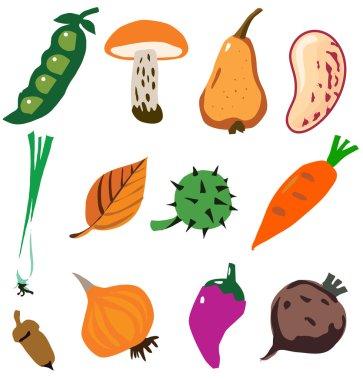 Vegetables doodle cartoon set vector illustration