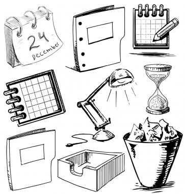 Office stuff set. Hand drawing sketch vector illustration