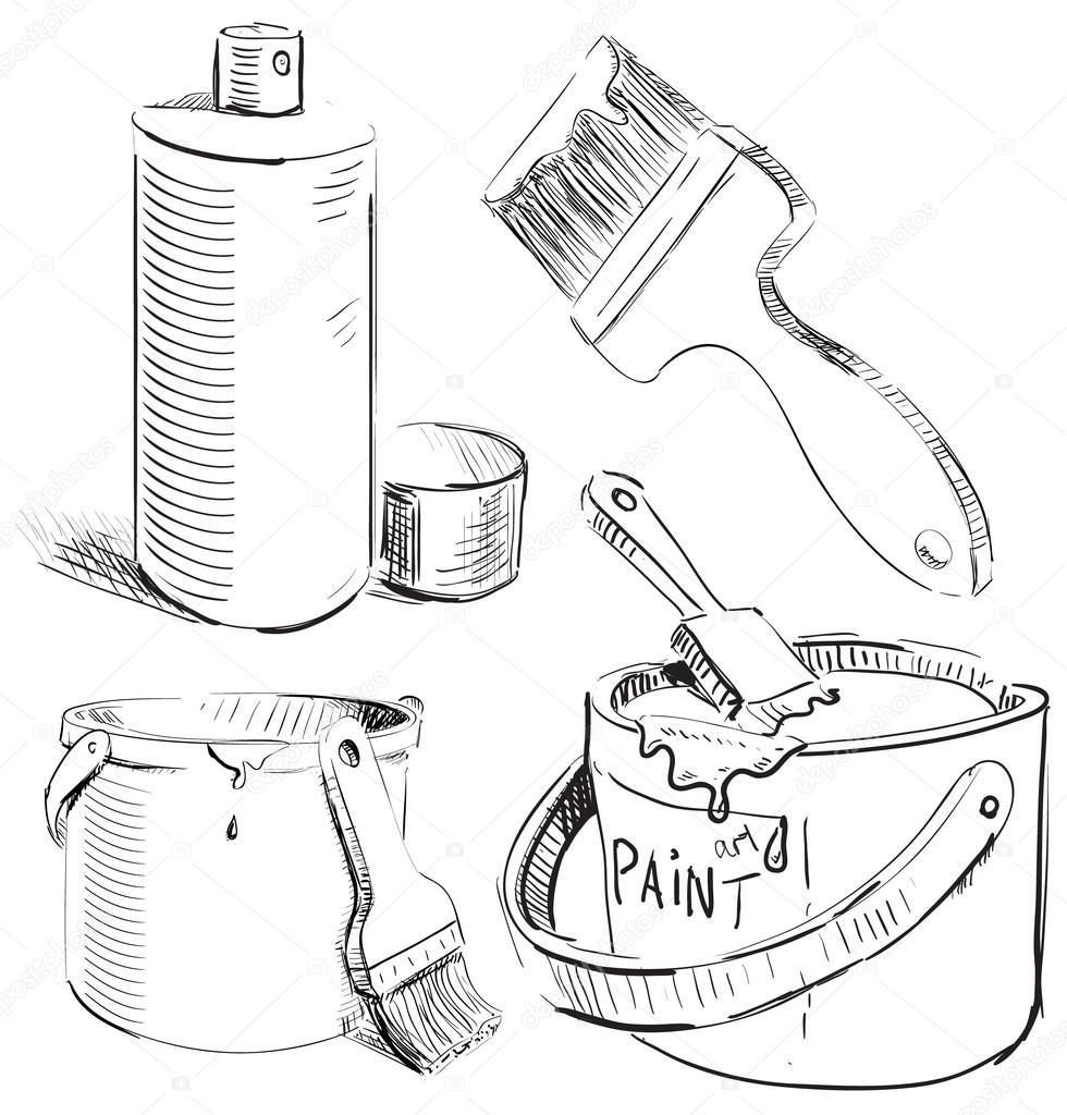 In Boyama Ayarlayın El çizimi Beyaz Zemin üzerine Izole Sketch