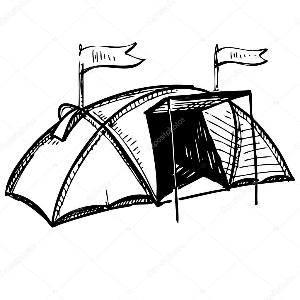 Camping Tent Hand Drawing Sketch Vector Illustration Stock