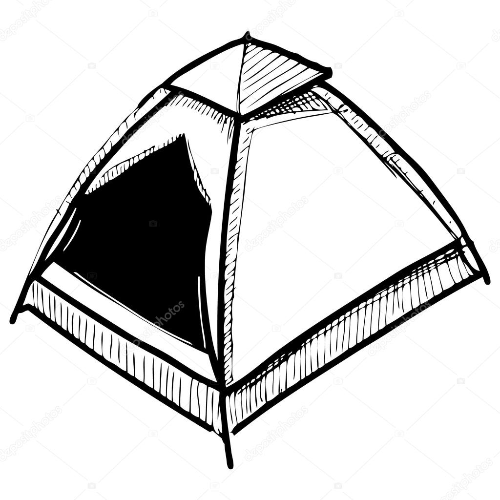 C&ing tent. Hand drawing sketch vector illustration u2014 Stock Vector  sc 1 st  Depositphotos & Camping tent. Hand drawing sketch vector illustration u2014 Stock ...