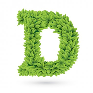 Letter D of green leaves with shadow