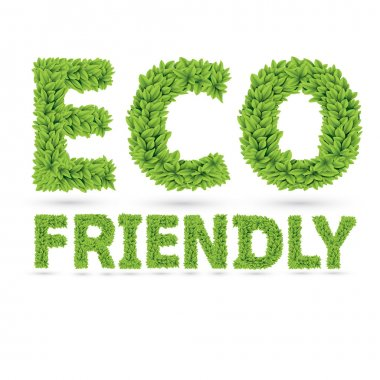 Eco friendly text of green leaves