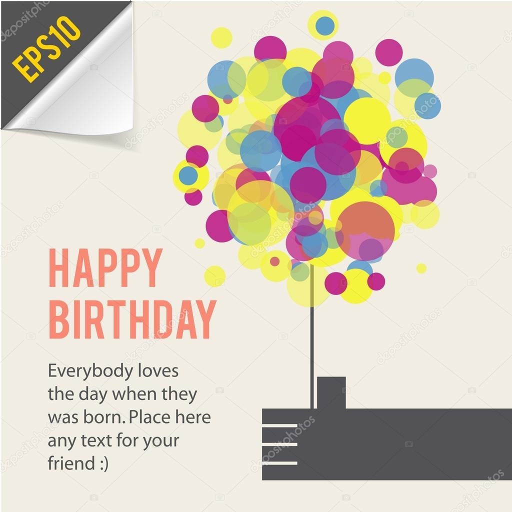 Happy birthday card template retro style Vector Chuhail – Template Happy Birthday Card