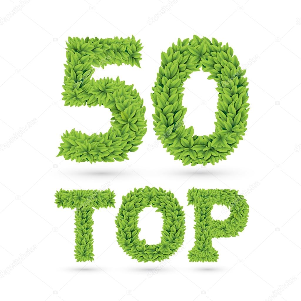Top 50 text of green leaves