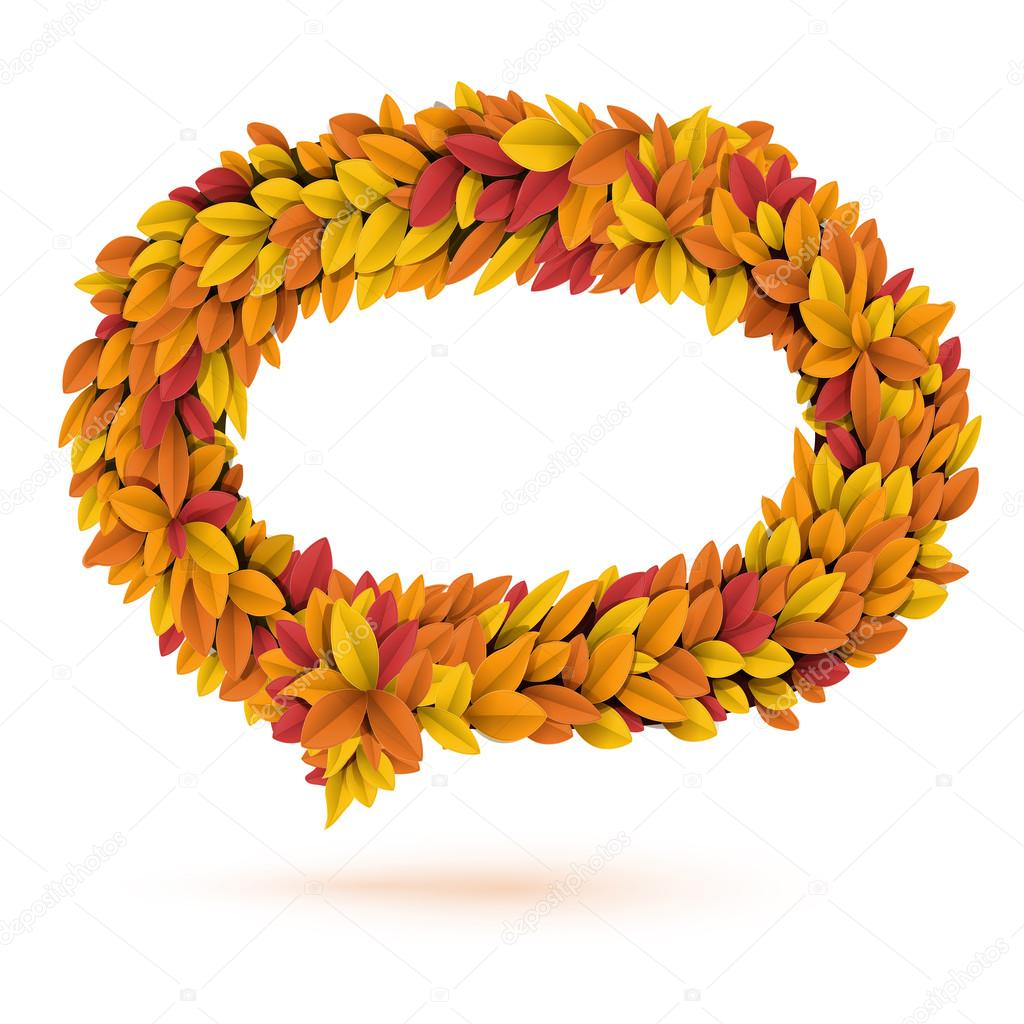 Speech bubble of autunm fall bright orange leaves