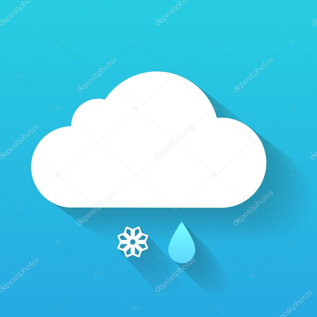 Day cloud, snow flake and rain drop isolated on blue