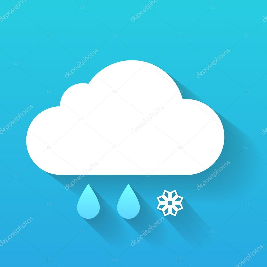 Day cloud, snow flake and rain drops isolated on blue