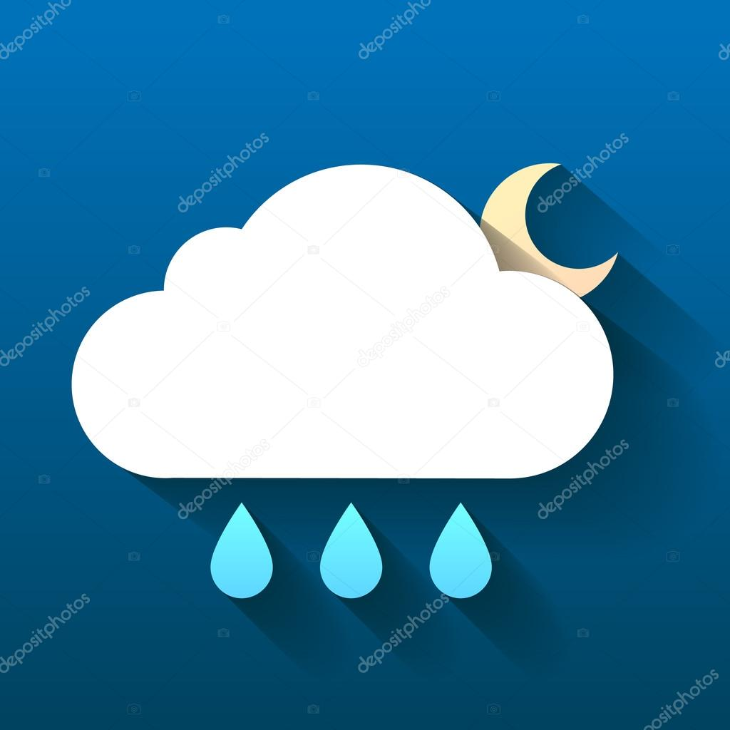 Night cloud, moon and rain drops isolated on dark
