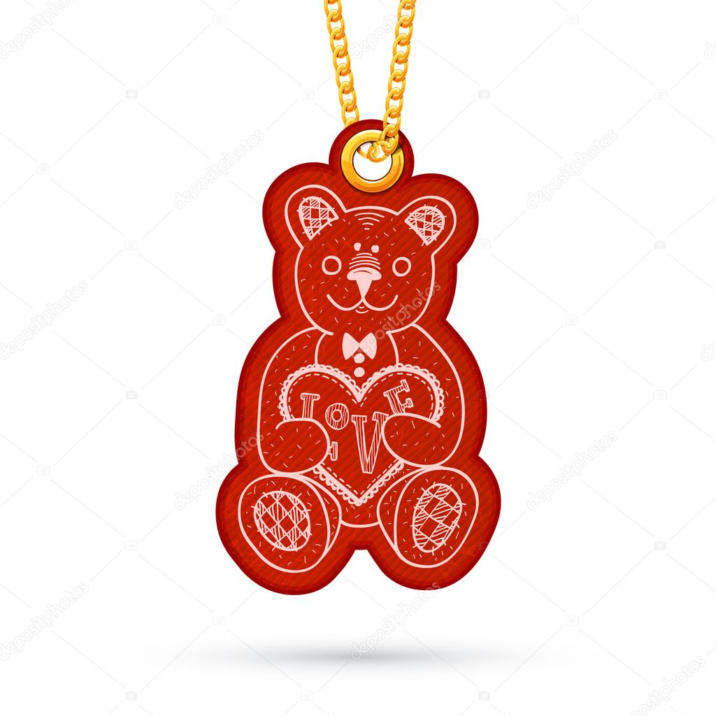 teddy bear with present label tag hanging on golden chain stock