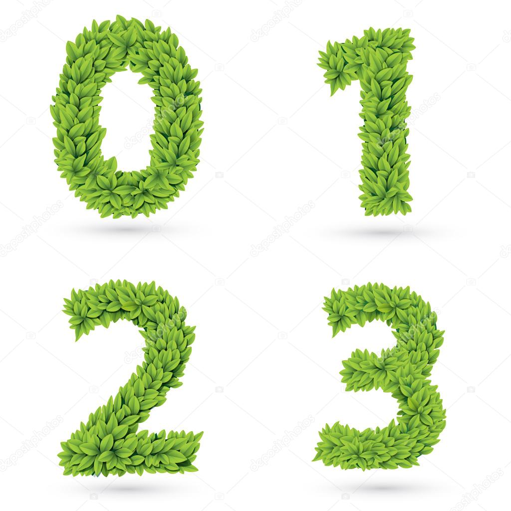 Numbers of green leaves collection.