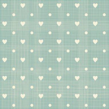 Seamless hearts polka dot pattern with retro texture clip art vector