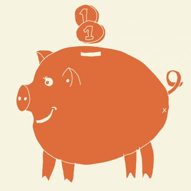 funky money pig box in retro orange