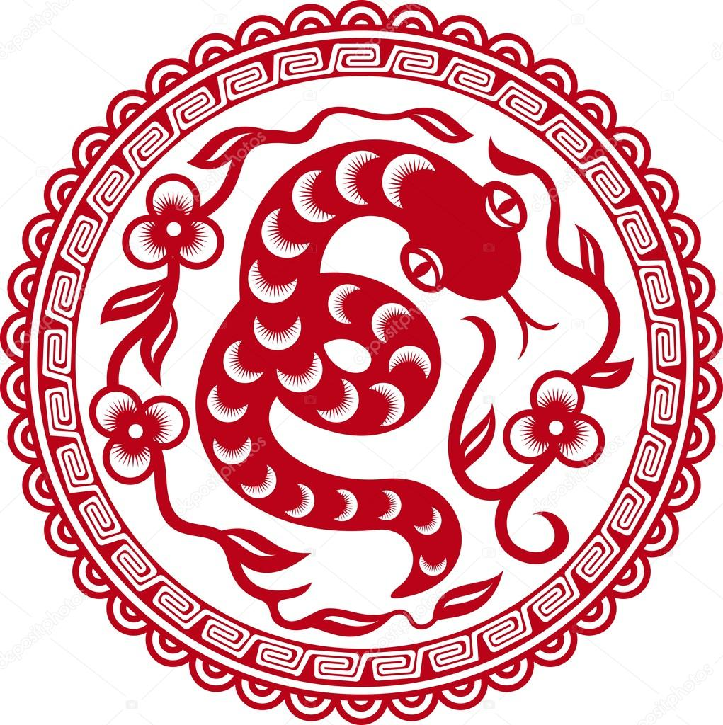 Chinese paper cut snake as symbol of year