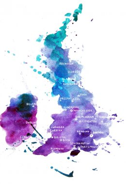 Watercolor map of the UK