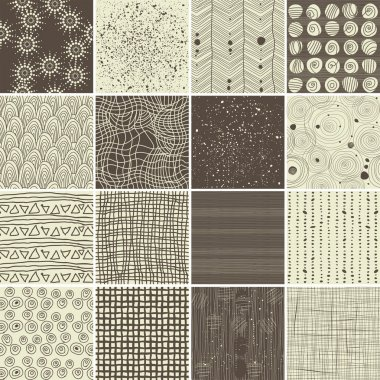 A set of 16 doodle seamless patterns and textures
