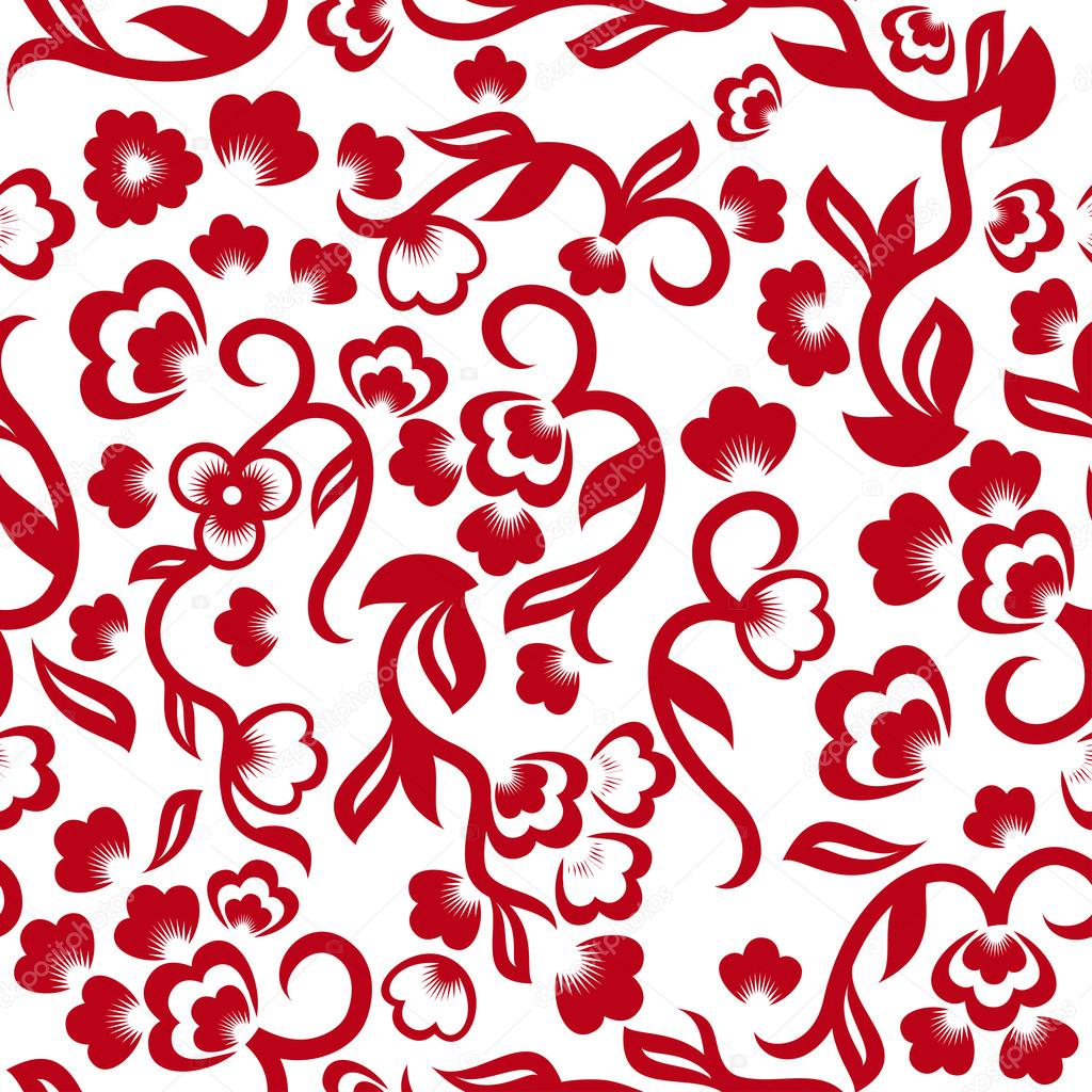 Chinese floral seamless pattern stock vector for Chinese vector