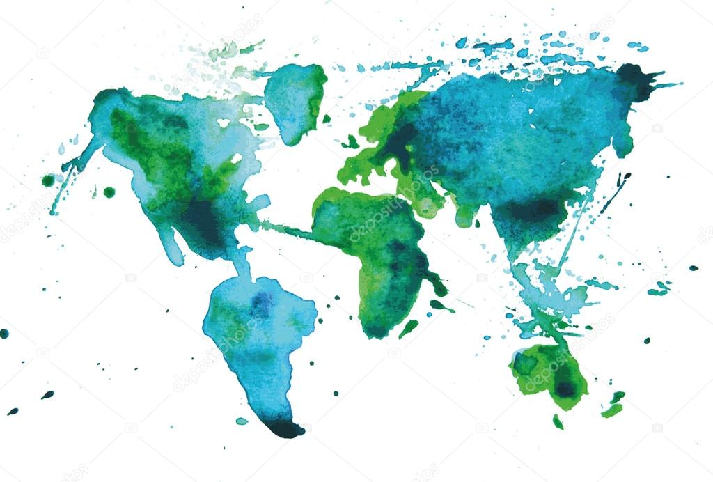 Watercolor map of the world — Stock Vector © AnastasiiaKu #40162931