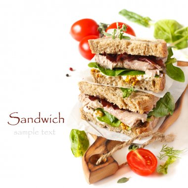 Sandwiches with meet, vegetables and mustard on crusty fresh sliced rye bread. stock vector